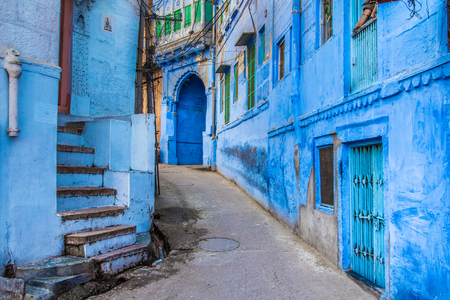 The bright blue streets of the Blue City of Jodhpur, India. Stock Photo