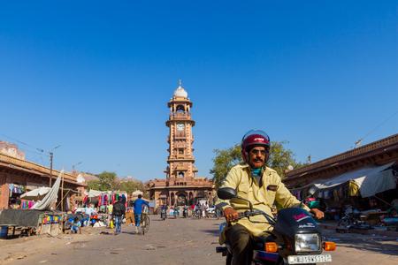 Jodhpur, India,18th January 2017 - The  street near the famous clocktower in Jodhpur.