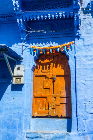The outside of a traditional house in the Blue City of Jodhpur, India.