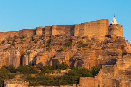 A detail of the side of Mehrangarh Fort in Jodhpur, India.