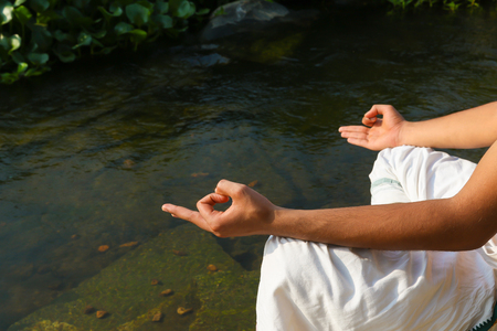 An Indian hand in the meditation position or Jnana Mudra Stock Photo
