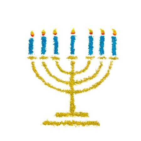 Jewish Hanukkah Menorah symbol made with color powder, isolated on a white background