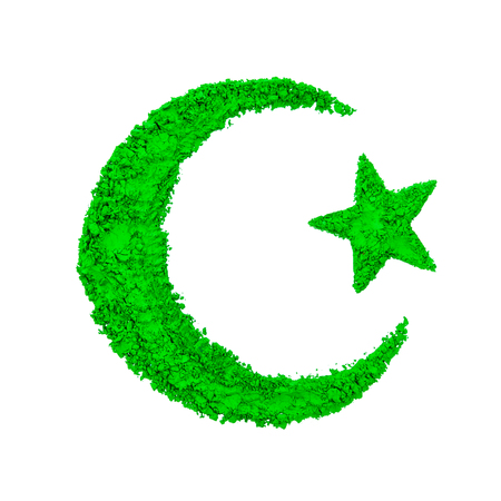 Crescent Moon and Star of Islam made with green color powder, isolated on a white background