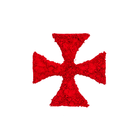 Templar Cross made with red color powder, isolated on a white background
