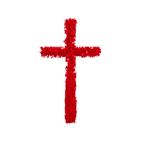 Christian Cross made with red color powder, isolated on a white background
