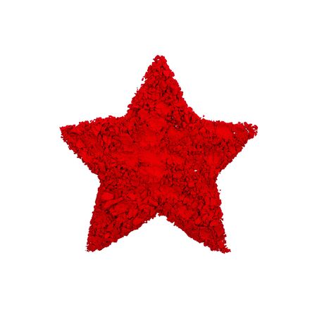 Red Star Symbol made with red color powder, isolated on a white background