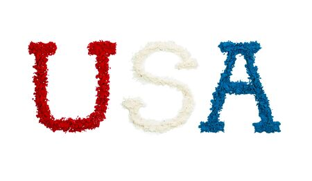 USA made in red, white and blue color powders, isolated on a white background