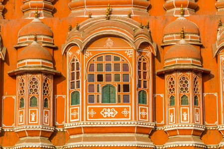 dome of the rock: Architectural Detail on the Hawa Mahal - Palace of the Winds, Jaipur, India.