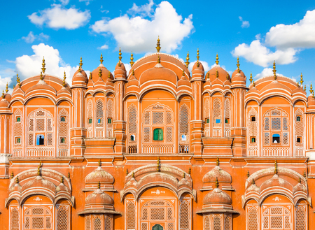 Architectural Detail on the Hawa Mahal - Palace of the Winds, Jaipur, India.