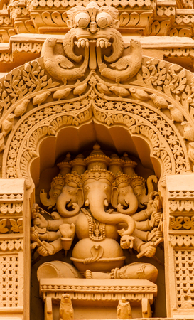 A sculpture of the Hindu God Ganesh at the temple of Srikantheswara in Nanjangud, South India.