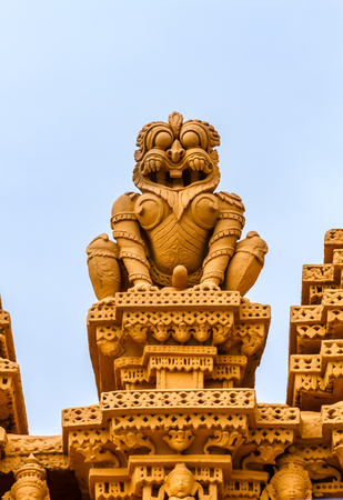 A sculpture of a lion at the temple of Srikantheswara in Nanjangud, South India.