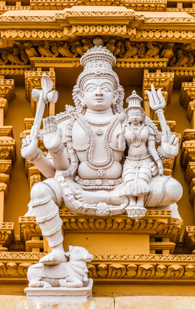 A sculpture of the Hindu God Shiva at the temple of Srikantheswara in Nanjangud, South India.