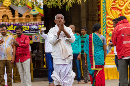 Nanjangud, India, 4th July 2017 -A Hindu devotee of Shiva outside a temple in India.