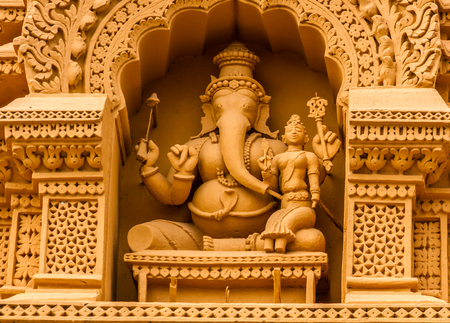 A sculpture of the Hindu God Ganesh at the temple of Srikantheswara in Nanjangud, South India.