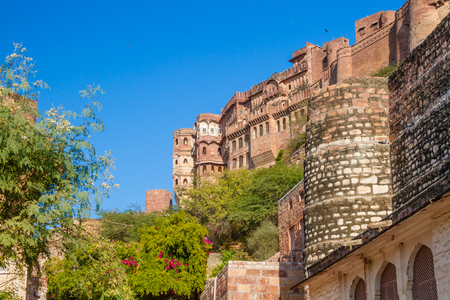 Mehrangarh Fort in Jodhpur, India.