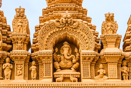 A sculpture of the Hindu God Ganesh at the temple of Srikantheswara in Nanjangud, South India. Stock Photo - 82871980