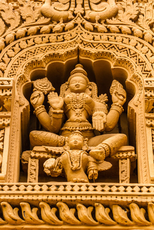 A sculpture of the Hindu God Vishnu at the temple of Srikantheswara in Nanjangud, South India. Stock Photo