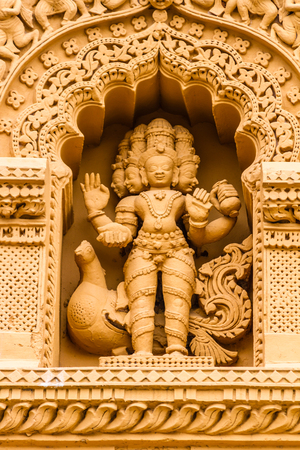 A sculpture of the Hindu God Brahma at the temple of Srikantheswara in Nanjangud, South India.