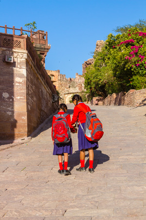Jodhpur, India, 16th January 2017 - School girls at Mehrangarh Fort in Jodhpur, India. Stock Photo - 83003930