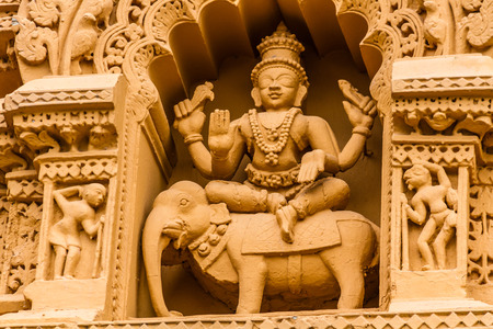 A sculpture of the Hindu god Indra at the temple of Srikantheswara in Nanjangud, South India.