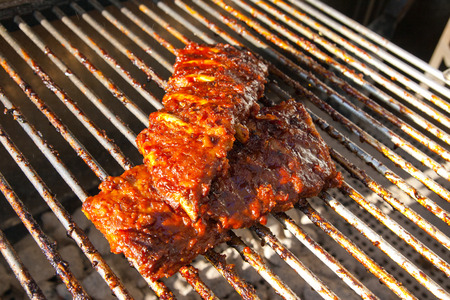 Spare Ribs on the grill Banco de Imagens