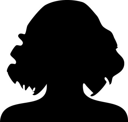 synoniem: Het silhouet van vrouwen met krullend haar Stock Illustratie