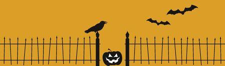 fence: Halloween Raven Fence Illustration