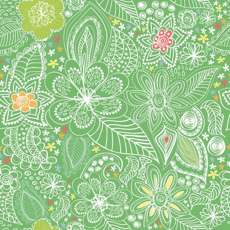Paisley wiht a green background Illustration