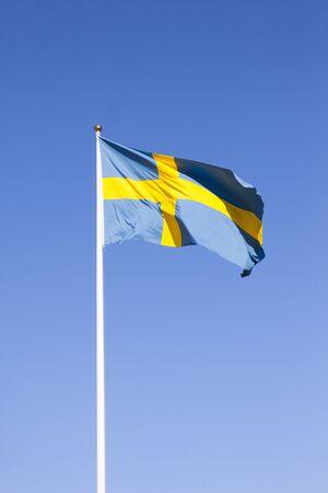 flagpoles: Swedish Flag Stock Photo