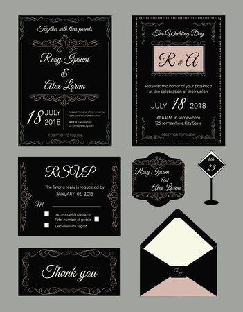 Wedding invitation design template for print with Save the date, RSVP card.