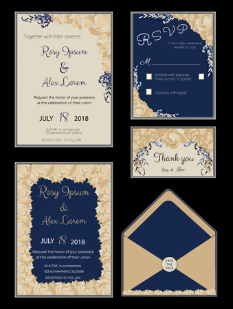 Wedding invitation card suite with flower Templates. Ilustração Vetorial