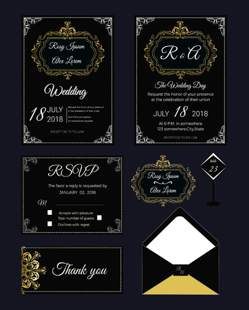 Wedding invitation , Save the date, RSVP card, Thank you card, Table number, Gift tags, Place cards, Respond card. Illustration