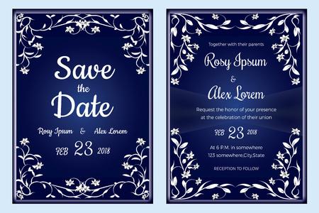 Hochzeitseinladung, Save the Date, RSVP-Karte, Dankeskarte, Tischnummer, Geschenkanhänger, Tischkarten, Antwortkarte. Standard-Bild - 94808373