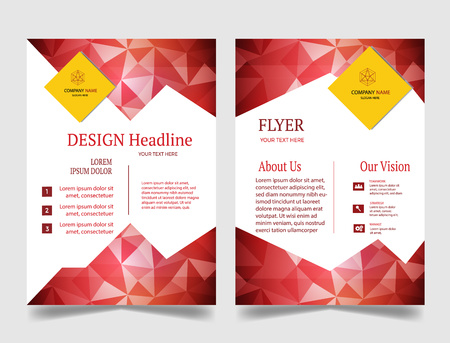 Roll up template design yellow and red. Illustration