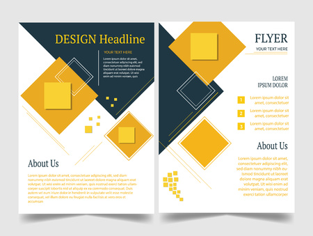 Roll up template design yellow and black. Illustration
