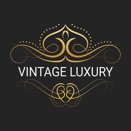 Gold Decorative Frame.Vintage Logo Templates Vector. Royalty Free ...
