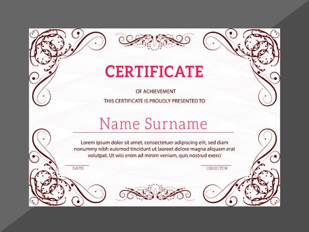 Vintage golden classic certificate. Certificate of achievement template