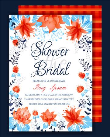 Floral Frame Bridal Shower Invitation or Wedding card Vector illustration.