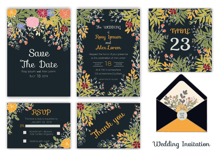 Wedding invitation , Save the date, RSVP card, Thank you card, Table number, Gift tags, Place cards, Respond card. Illusztráció