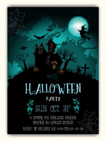 Halloween and dark castle on black Moon background, illustration.