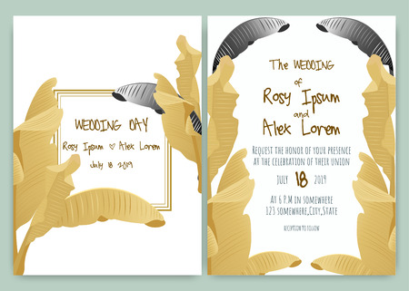 Tropical hand drawn frame for a wedding invitation.