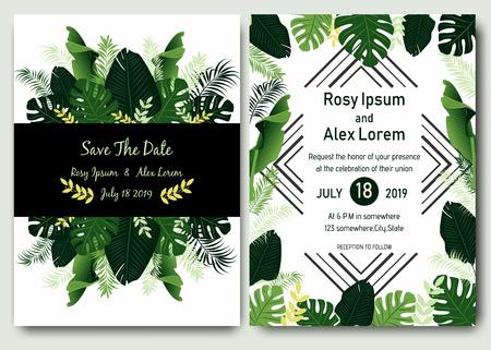 Tropical hand drawn frame for a wedding invitation. 向量圖像