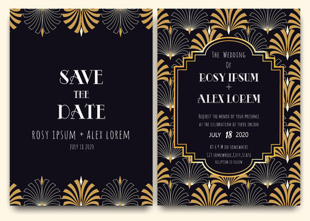 An Art Deco Wedding Card with a Gold-patterned Background.