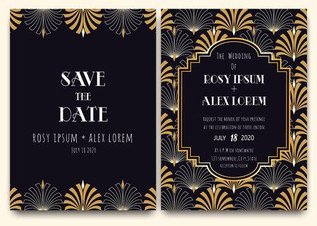Eine Art-Deco-Hochzeitskarte mit goldgemustertem Hintergrund.