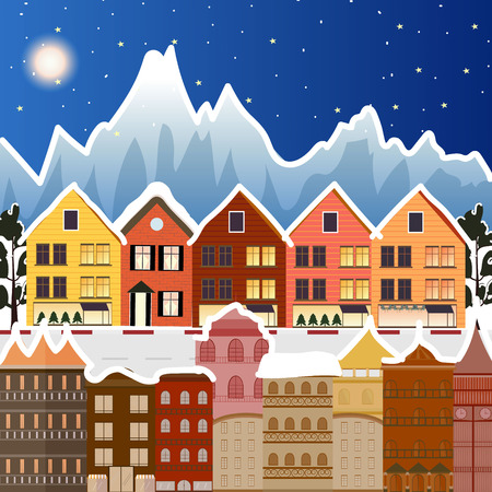 Winter landscape. Christmas trees and houses. Snowman. Merry Christmas and a Happy New Year  イラスト・ベクター素材