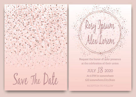 Rose gold glitter pink wedding card  invitation