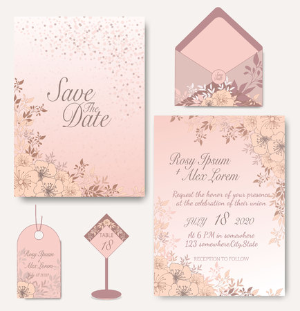 Elegant wedding cards consist of various kinds of flowers.  イラスト・ベクター素材
