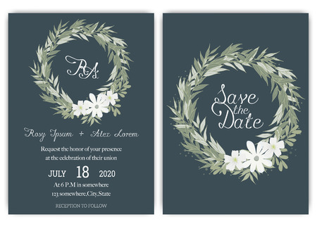 Elegant wedding cards consist of various kinds of flowers. Ilustracja