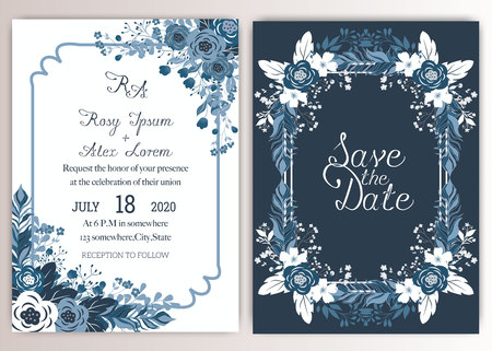 Elegant wedding cards consist of various kinds of flowers. Illustration