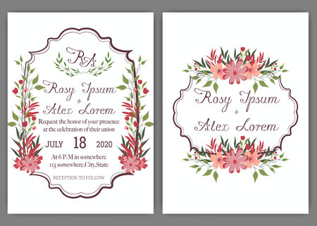 Elegant wedding cards consist of various kinds of flowers. 일러스트